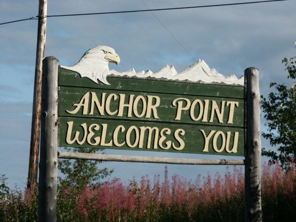 Anchor Point Welcome Sign with Eagle
